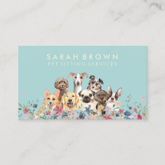 Pet Sitter Walker dog care teal Business Card