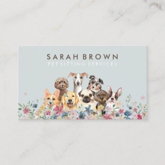 Pet Sitter Walker dog petcare blue brown pastel Business Card