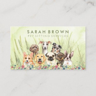 Pet Sitter Walker dog petcare green floral Business Card