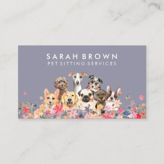 Pet Sitter Walker dog petcare Navy Business Card