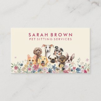 Pet Sitter Walker dog petcare pink beige Business Card