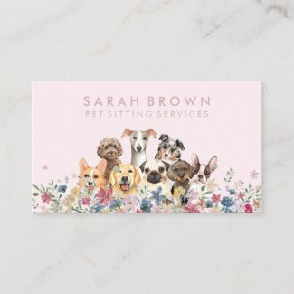 Pet Sitter Walker dog petcare pink Business Card