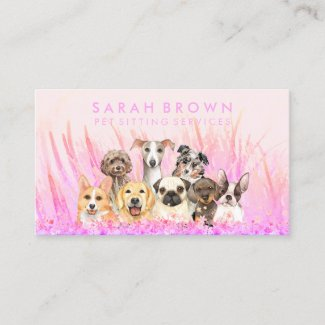 Pet Sitter Walker dog petcare pink flowers Business Card