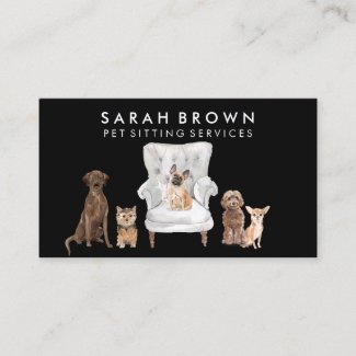Pet Sitter Walker dog veterinary Black Business Card