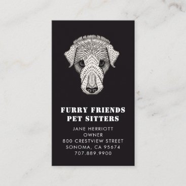 Pet Sitter White On Black Business Card