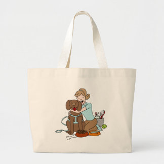 Pet Sitter Woman Large Tote Bag