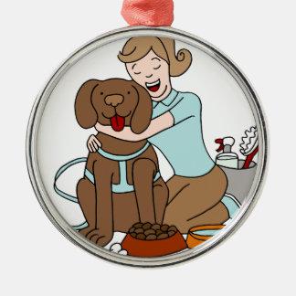 Pet Sitter Woman Metal Ornament
