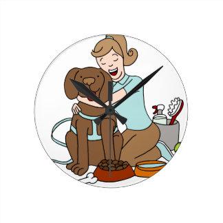 Pet Sitter Woman Round Clock