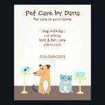 """Pet Sitter&#39;s Advertising Flyer<br><div class=""""desc"""">Promote your pet sitting business with this cute foursome: a dog,  cat,  bird and fish. Great for dog walkers,  cat sitters,  bird and fish care providers. Any pet professional who cares for a variety of animals.</div>"""