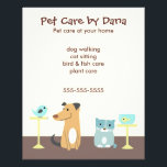 """Pet Sitter's Advertising Flyer<br><div class=""""desc"""">Promote your pet sitting business with this cute foursome: a dog,  cat,  bird and fish. Great for dog walkers,  cat sitters,  bird and fish care providers. Any pet professional who cares for a variety of animals.</div>"""