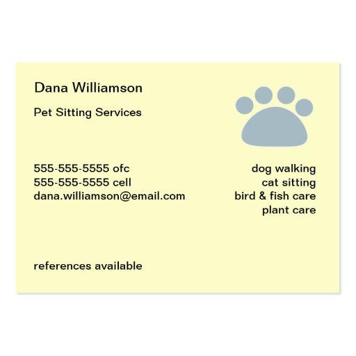 Pet Sitter's Business Card (back side)