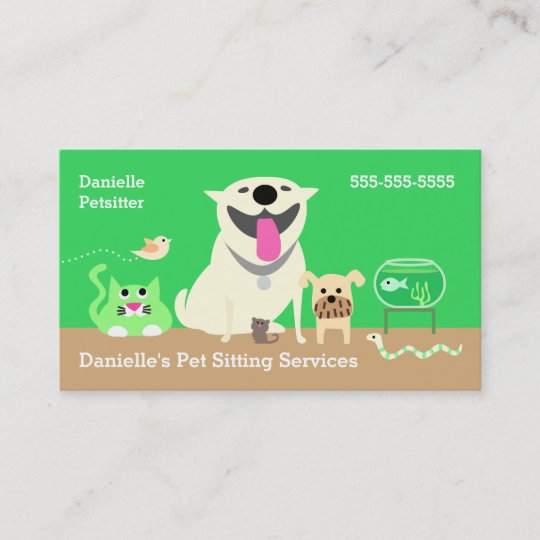 Pet sitters business card green business card zazzle pet sitters business card green business card colourmoves