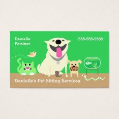 Pet Sitters Business Card-green Business Card at Zazzle