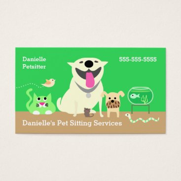Professional Business Pet Sitters Business Card-green Business Card