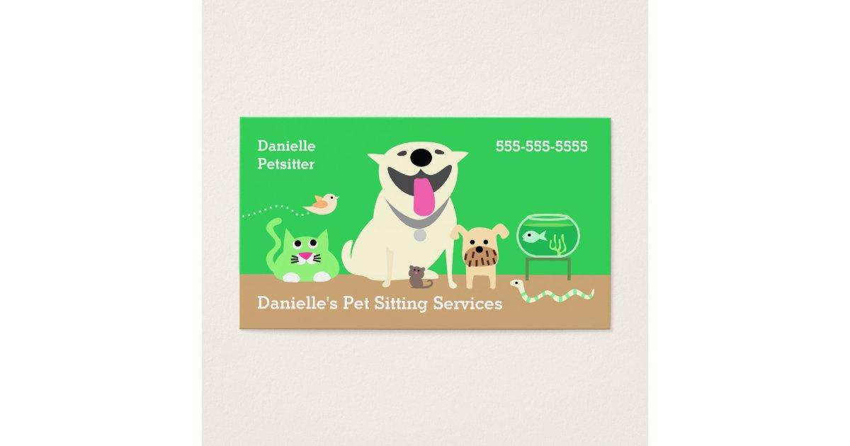 Pet Sitters Business Card-green Business Card | Zazzle.com