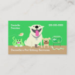 Pet Sitters Business Card-green Business Card