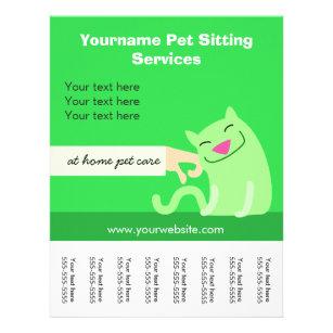 pet sitters cat flyer green flyer