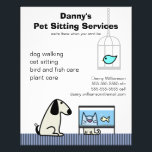 """Pet Sitter&#39;s Dog Cat &amp; Aquarium Flyer<br><div class=""""desc"""">Get the word out on your pet care business with this cute and colorful flyer. Advertise your pet sitting,  dog walking,  bird and fish care services. Please contact me if you would like the layout altered to accommodate a different text setup.</div>"""