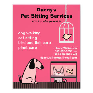 "Pet Sitter's Dog & Cat Red 4.5"" X 5.6"" Flyer"