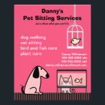 """Pet Sitter&#39;s Dog &amp; Cat Red Flyer<br><div class=""""desc"""">Get the word out on your pet care business with this cute and colorful flyer. Advertise your pet sitting,  dog walking,  bird and fish care services. Please contact me if you would like the layout altered to accommodate a different text setup.</div>"""