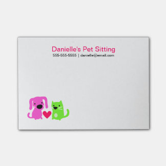 Pet Sitter's Dog & Cat with Heart Post-it® Notes