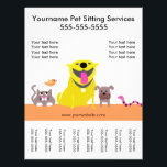 """Pet Sitter&#39;s Flyer with tags-dog, cat, bird, snake<br><div class=""""desc"""">Cute pet group to advertise your pet sitting services. Tear-off tags at the bottom.</div>"""