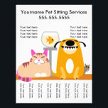"""Pet Sitter&#39;s Flyer with tags-dog, cat, fish, mouse<br><div class=""""desc"""">Cute pet group to advertise your pet sitting services. Tear-off tags at the bottom.</div>"""