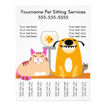 Pet Sitter's Flyer with tags-dog, cat, fish, mouse