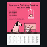 """Pet Sitter&#39;s Flyer with tags-red<br><div class=""""desc"""">Cute pet group to advertise your pet sitting services. Tear-off tags at the bottom.</div>"""