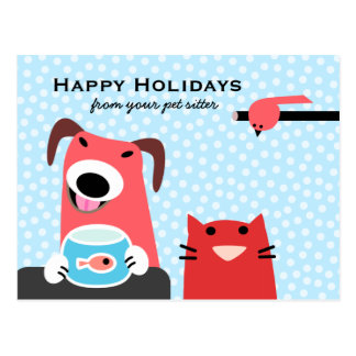 Pet Sitter's Happy Holidays Postcard