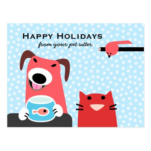 Pet Sitter's Happy Holidays Post Cards