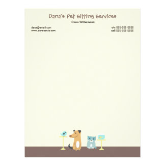 Pet Sitter's Letterhead