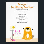 """Pet Sitter&#39;s Promotional Flyer<br><div class=""""desc"""">Get the word out on your pet care business with this cute and colorful flyer. Advertise your pet sitting,  dog walking,  cat,  fish,  and small animal care services.</div>"""