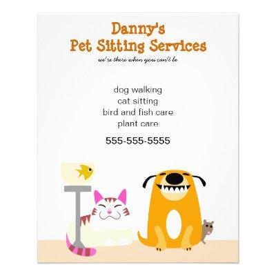animal walker pet sitter business flyers zazzlecom