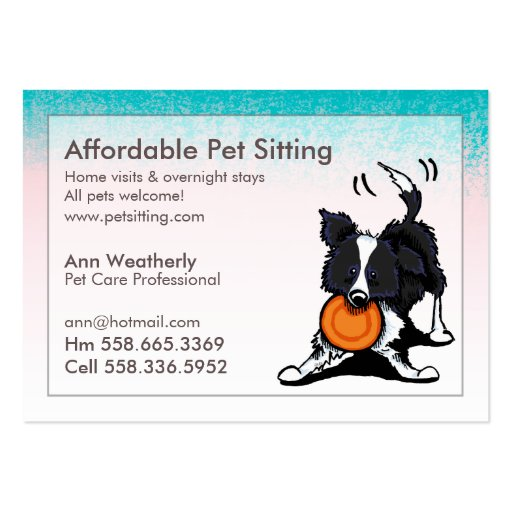 Pet Sitting Border Collie Pink Blue Large Business Cards
