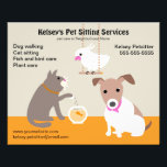 """Pet Sitting Business Advertising Flyer<br><div class=""""desc"""">Promote your pet sitting business with this cute flyer. Customize with your business information. Design is a dog with a cat feeding a goldfish and a cockatoo on a swing overhead.</div>"""