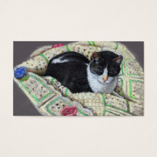 PET SITTING BUSINESS CARD: CAT IN COLOR PENCIL BUSINESS CARD