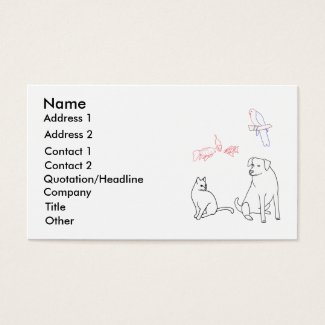 Pet Sitting Business Cards, Dog Cat Bird Fish Business Card