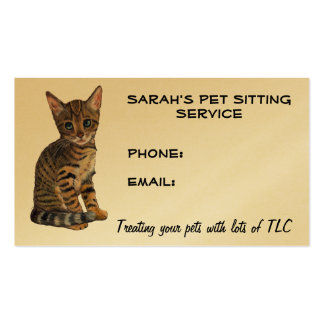 Pet Sitting Business: Cute Bengal Kitty Drawing Business Card Templates