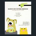 """Pet Sitting Business Flyer<br><div class=""""desc"""">Get the word out on your pet care business with this cute and colorful flyer. Advertise your pet sitting,  dog walking,  bird and fish care services. Please contact me if you would like the layout altered to accommodate a different text setup.</div>"""