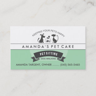 Pet business cards zazzle pet sitting care green white retro design business card colourmoves