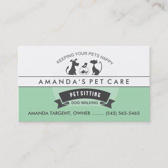 pet sitting care green white retro design business card zazzle com