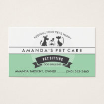 Pet Sitting & Care Green & White Retro Design Business Card