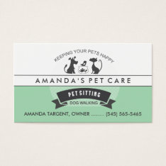 Pet Sitting & Care Green & White Retro Design Business Card at Zazzle