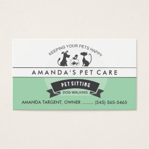 Pet sitting business cards templates zazzle pet sitting care green white retro design business card reheart Images