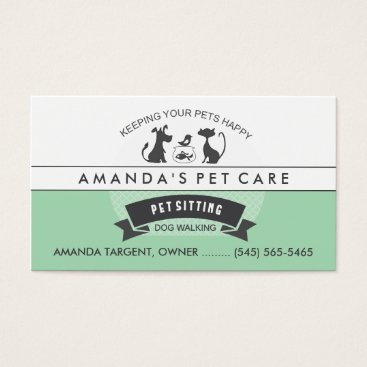 Professional Business Pet Sitting & Care Green & White Retro Design Business Card