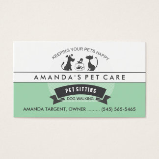 Pet Sitting & Care Green & White Retro Design Business Card