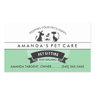 Pet Sitting & Care Green & White Retro Design Double-Sided Standard Business Cards (Pack Of 100)
