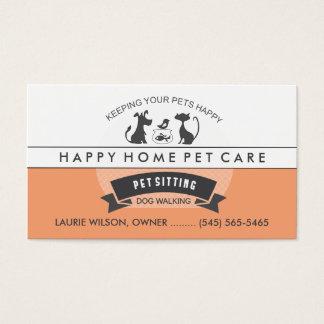 Pet Sitting & Care Orange & White Retro Design Business Card