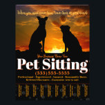 """Pet Sitting Customizable Advertising Flyer<br><div class=""""desc"""">Fully customizable Pet Sitting Tearsheet Flyer to promote and advertise your Pet Sitting service. Eye-catching and professional. Hang in local businesses,  libraries,  schools,  restaurants,  pet shops,  veterinarian offices etc. See matching items. Makes a practical and thoughtful gift! Features a gorgeous richly-colored sunset silhouetting two dogs.</div>"""